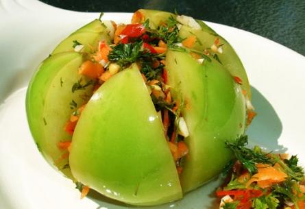 Как приготовить зеленые помидоры острые